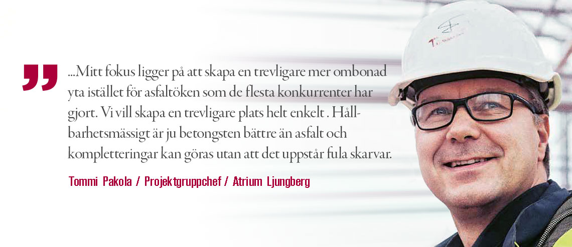 Tommi Pakola / Atrium Ljungberg uttalar sig om en maskinlagd parkeringsyta
